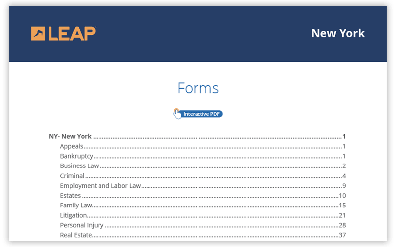 New York legal forms software from LEAP - library of automated legal forms