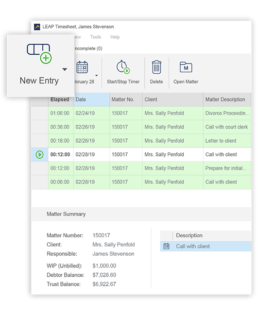 Work from anywhere, keep track of your time automatically - Easily create new entries