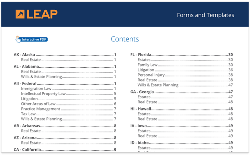 Automated legal forms and forms templates for lawyers augmented with software integrations
